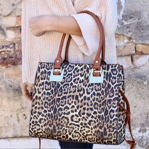 NWT Vegan Leopard Print Handbag + Wallet S…